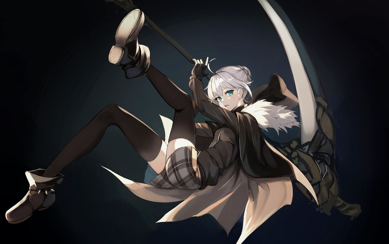 aqua_eyes boots cape fate_(series) gloves gray_hair gray_(lord_el-melloi_ii) homo_(1450677731) hoodie lord_el-melloi_ii_case_files scythe skirt thighhighs weapon