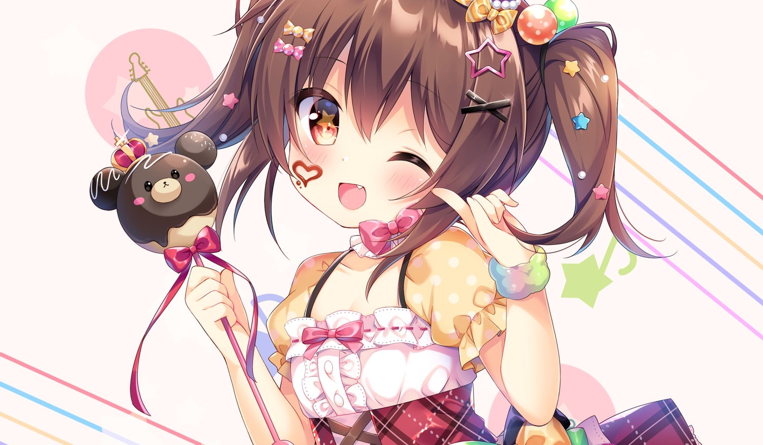 blush bow brown_hair candy chocolate dress fang loli red_eyes ribbons twintails umeko_machi wand wink wristwear