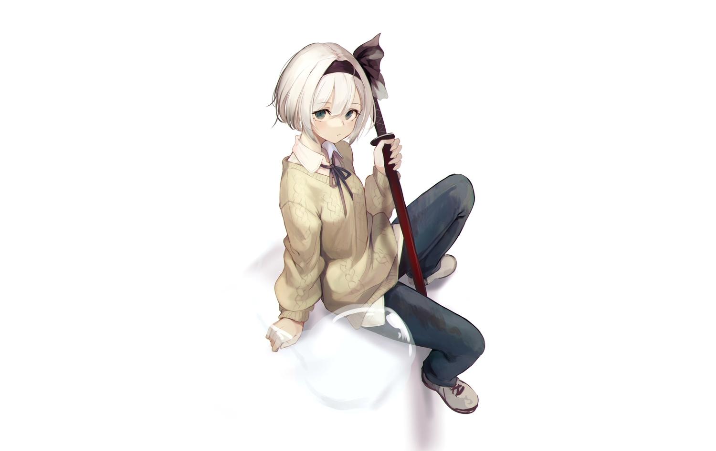 green_eyes headband homo_1121 katana konpaku_youmu myon shirt short_hair sword touhou weapon white white_hair