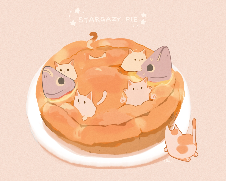 animal cat chai_(artist) fish food nobody original polychromatic signed