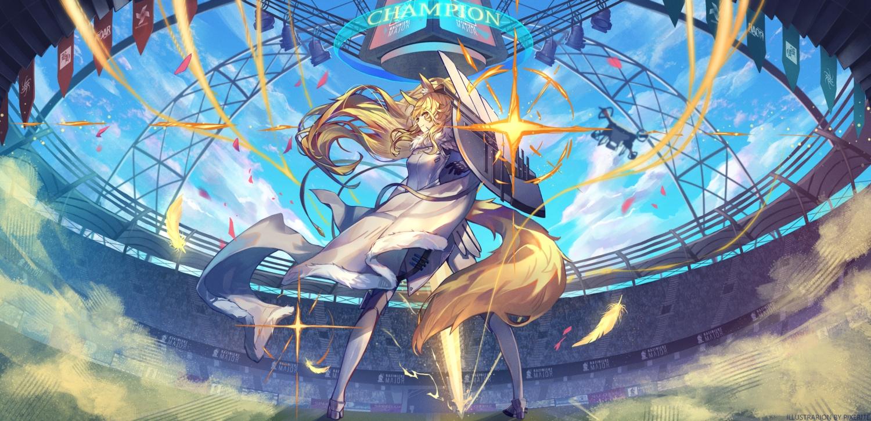 arknights armor blemishine_(arknights) blonde_hair clouds long_hair pixerite ponytail sky tail yellow_eyes