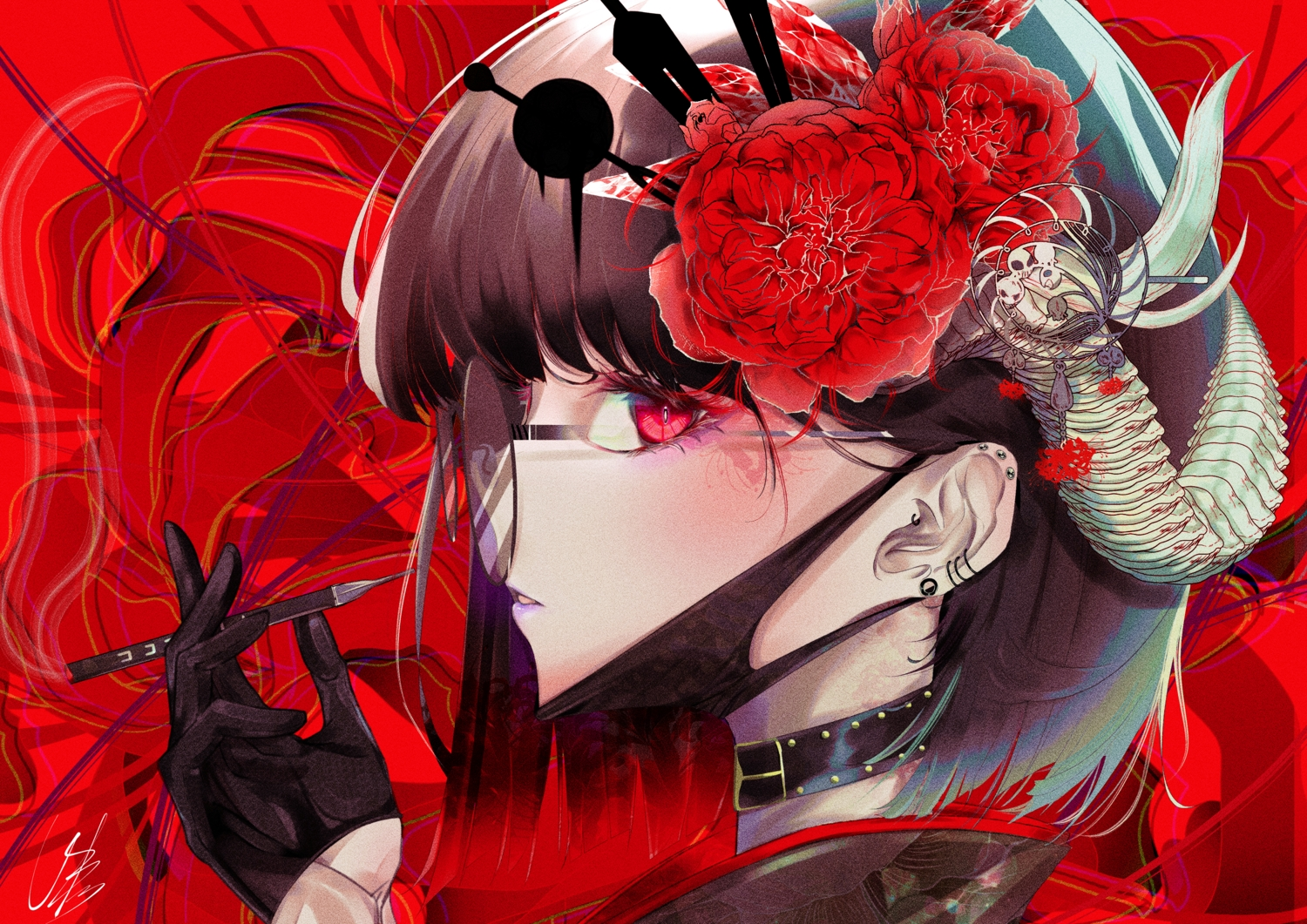 black_hair close collar flowers glasses gloves horns mask original polychromatic red red_eyes short_hair signed smoking urotare