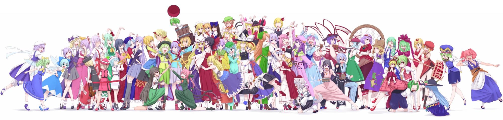 aki_minoriko aki_shizuha alice_margatroid animal_ears bunny_ears bunnygirl catgirl chen cirno daiyousei demon dualscreen ex_keine fairy flandre_scarlet foxgirl fujiwara_no_mokou group gustav_(telomere_na) hakurei_reimu hieda_no_akyuu hinanawi_tenshi hong_meiling hoshiguma_yuugi houraisan_kaguya hug ibuki_suika inaba_tewi inubashiri_momiji izayoi_sakuya japanese_clothes kaenbyou_rin kagiyama_hina kamishirasawa_keine kawashiro_nitori kazami_yuuka kirisame_marisa kisume koakuma kochiya_sanae komeiji_koishi komeiji_satori konpaku_youmu kurodani_yamame letty_whiterock lily_black lily_white luna_child lunasa_prismriver lyrica_prismriver maid male medicine_melancholy merlin_prismriver miko mizuhashi_parsee morichika_rinnosuke moriya_suwako mystia_lorelei nagae_iku onozuka_komachi patchouli_knowledge reisen_udongein_inaba reiuji_utsuho remilia_scarlet rumia saigyouji_yuyuko shameimaru_aya shiki_eiki shoujo_ai star_sapphire sunny_milk touhou vampire watatsuki_no_toyohime watatsuki_no_yorihime white witch wolfgirl wriggle_nightbug yagokoro_eirin yakumo_ran yakumo_yukari yasaka_kanako