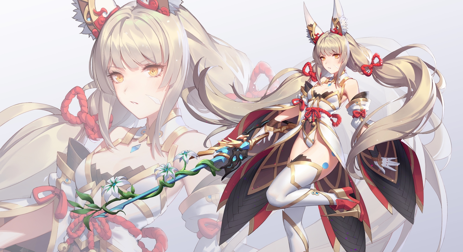 animal_ears flowers gloves gray_hair long_hair niyah_(xenoblade) q18607 sword thighhighs twintails weapon xenoblade yellow_eyes zoom_layer