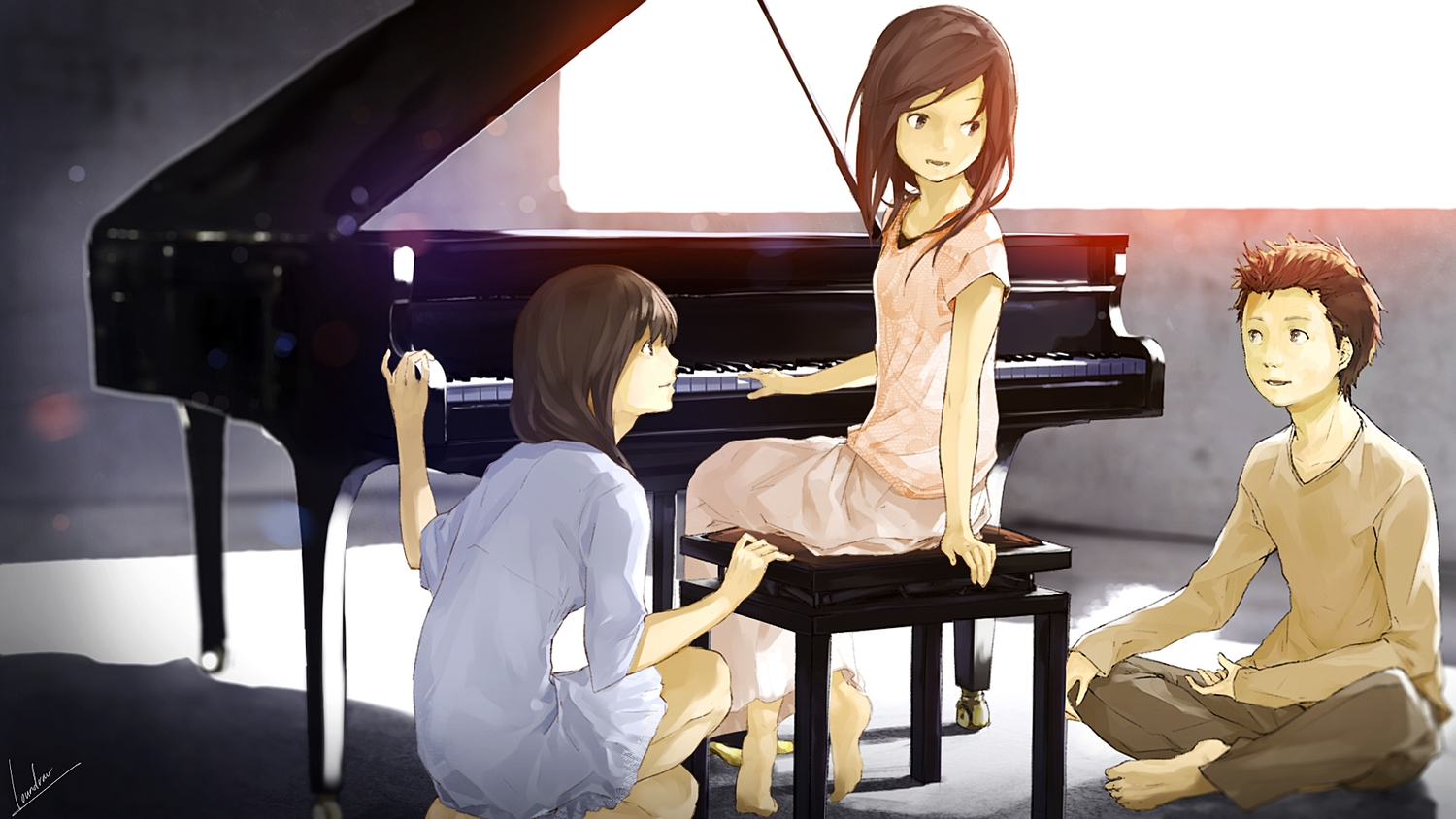 barefoot brown_eyes brown_hair group instrument loundraw original piano signed