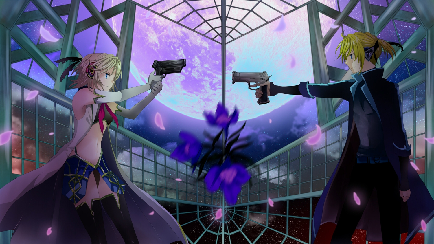 blonde_hair blue_eyes elbow_gloves flowers gloves gun headphones kagamine_len kagamine_rin male mariwai_(marireroy) moon navel panties petals ponytail short_hair stars thighhighs underwear vocaloid weapon