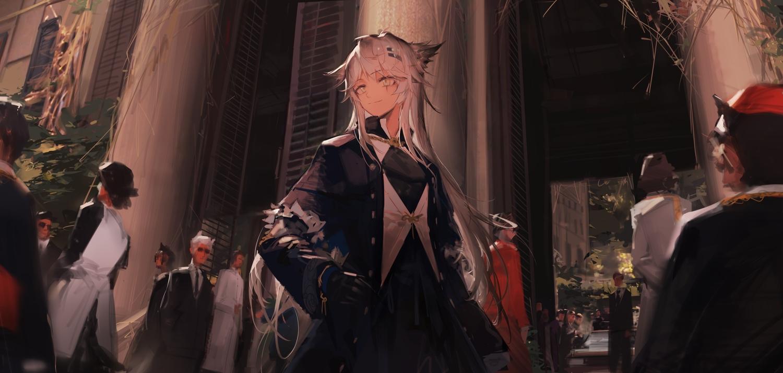 animal_ears arknights gloves gray_eyes gray_hair huanxiang_heitu lappland_(arknights) long_hair scar waifu2x