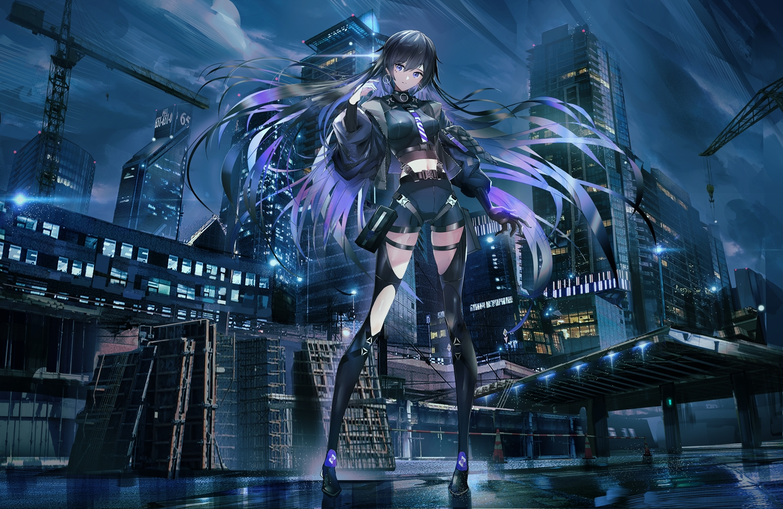 black_hair building city clouds gloves industrial long_hair navel original purple_eyes shorts skintight sky swav thighhighs