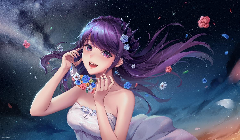 1991_(blz) braids dress flowers long_hair mask original petals purple_eyes purple_hair sky stars sunset watermark