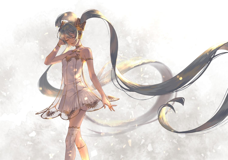 choker dress hatsune_miku headphones long_hair miku_symphony_(vocaloid) ojo_aa thighhighs twintails vocaloid wristwear