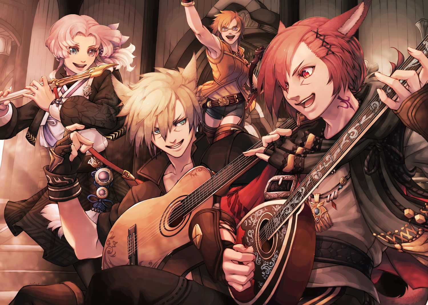 2girls animal_ears bicolored_eyes blonde_hair blue_eyes brown_hair catgirl final_fantasy final_fantasy_xiv glasses gloves g'raha_tia guitar hyur instrument long_hair male mihira_(tainosugatayaki) miqo'te pink_hair purple_eyes red_eyes red_hair short_hair shorts tail tattoo thighhighs
