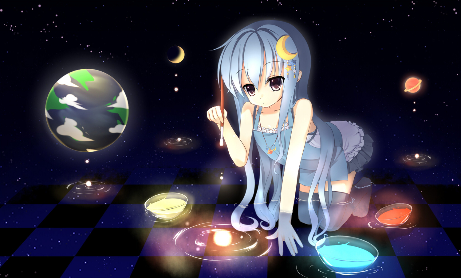 blue_hair earth if_(asita) moon necklace original planet space stars thighhighs water wet