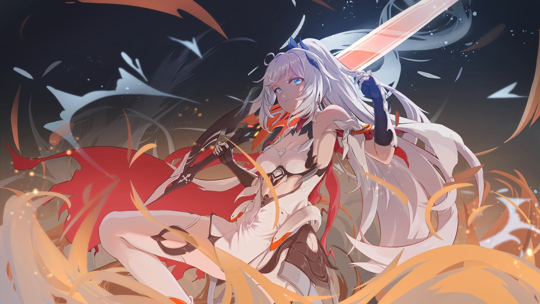 aqua_eyes breasts caisena cleavage honkai_impact kiana_kaslana long_hair sword thighhighs weapon white_hair