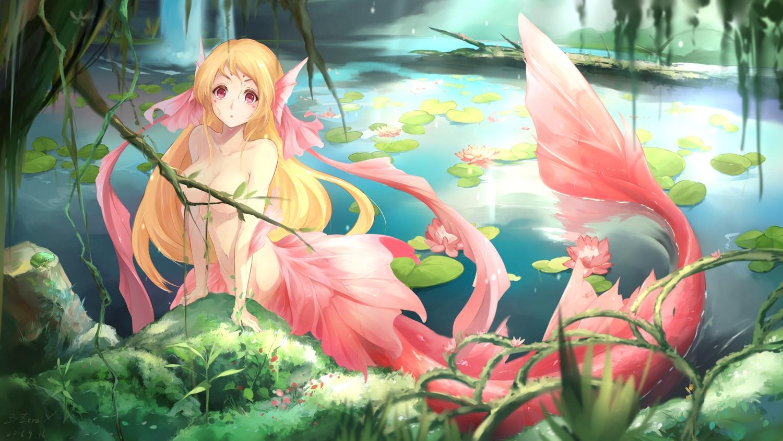 blonde_hair breasts bzerox flowers leaves long_hair mermaid navel no_bra original pink_eyes signed topless tree water