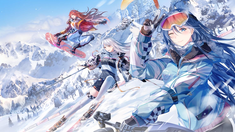 blue_hair gloves junpaku_karen landscape long_hair red_hair scenic sky tree white_hair wink winter