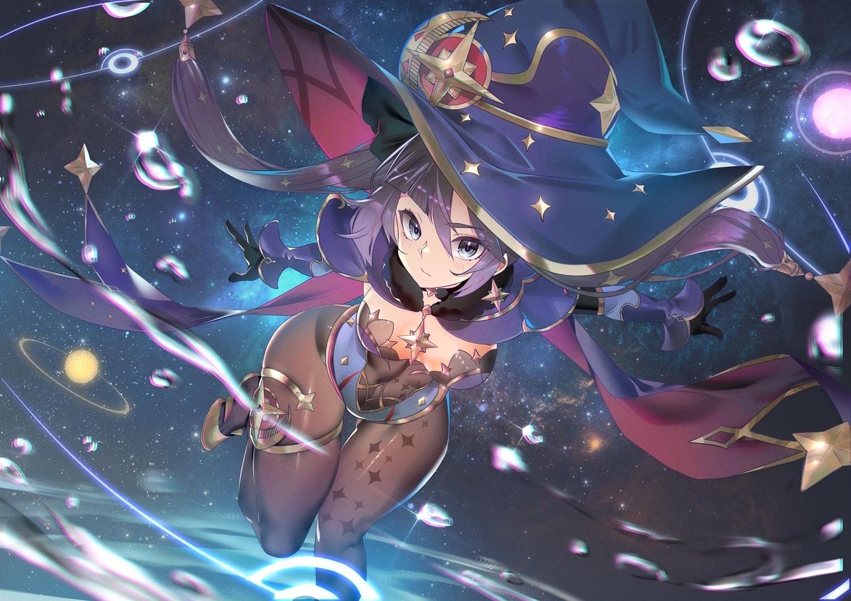 cape genshin_impact gloves hat khanshin leotard long_hair mona_megistus no_bra pantyhose planet purple_hair stars twintails water witch_hat