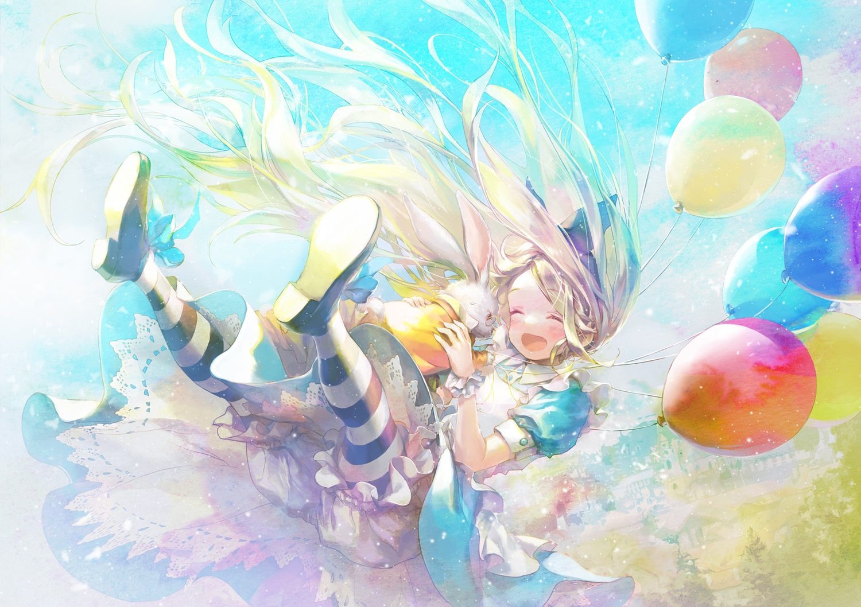 888myrrh888 alice_in_wonderland alice_(wonderland) animal blonde_hair bloomers blush clouds dress lolita_fashion long_hair pantyhose rabbit sky white_rabbit