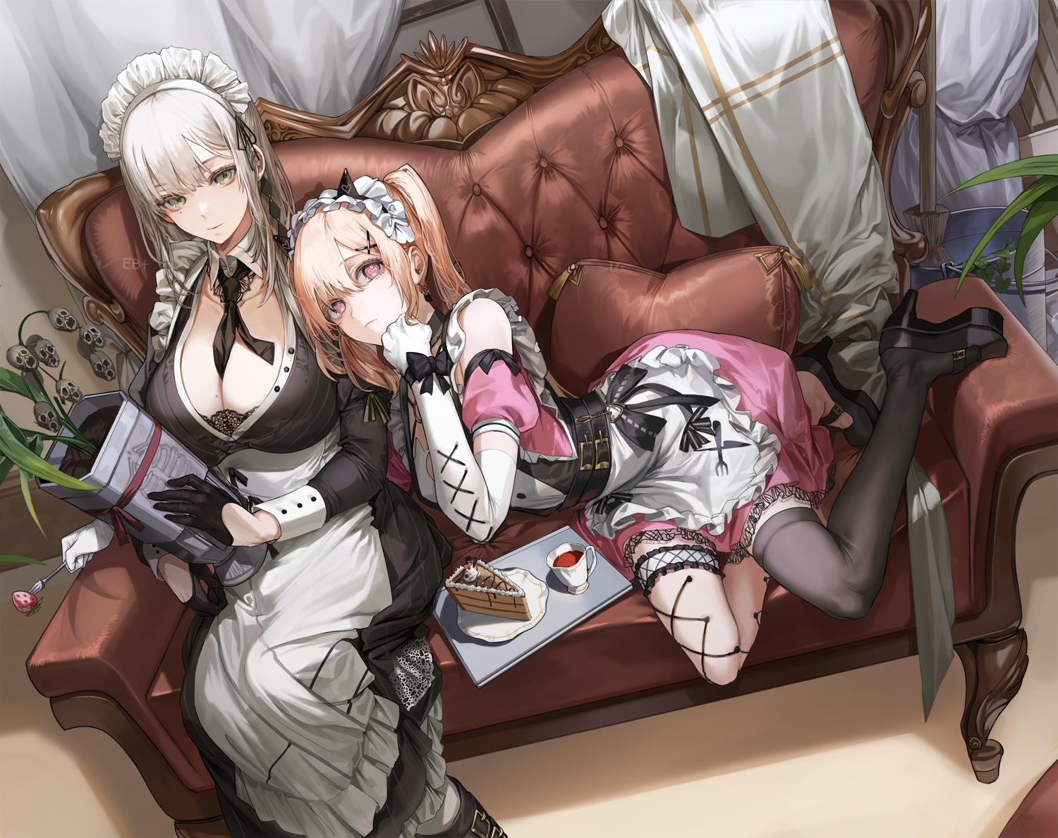2girls brown_hair cake couch drink food gloves gray_hair green_eyes headband horns kim_eb long_hair maid original signed skull twintails