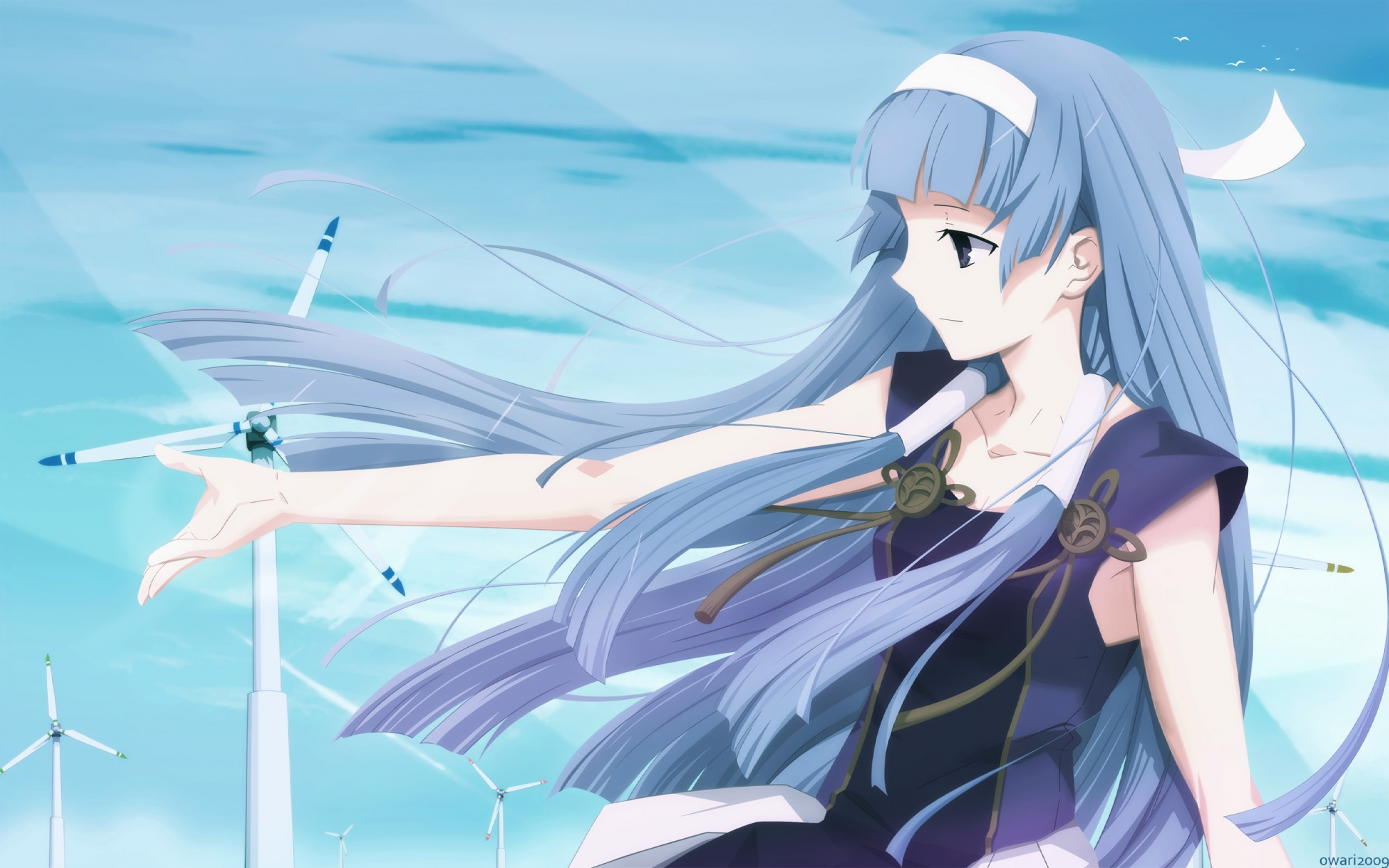 animal bird blue_hair kannagi_crazy_shrine_maidens long_hair nagi sky takeuchi_takashi vector