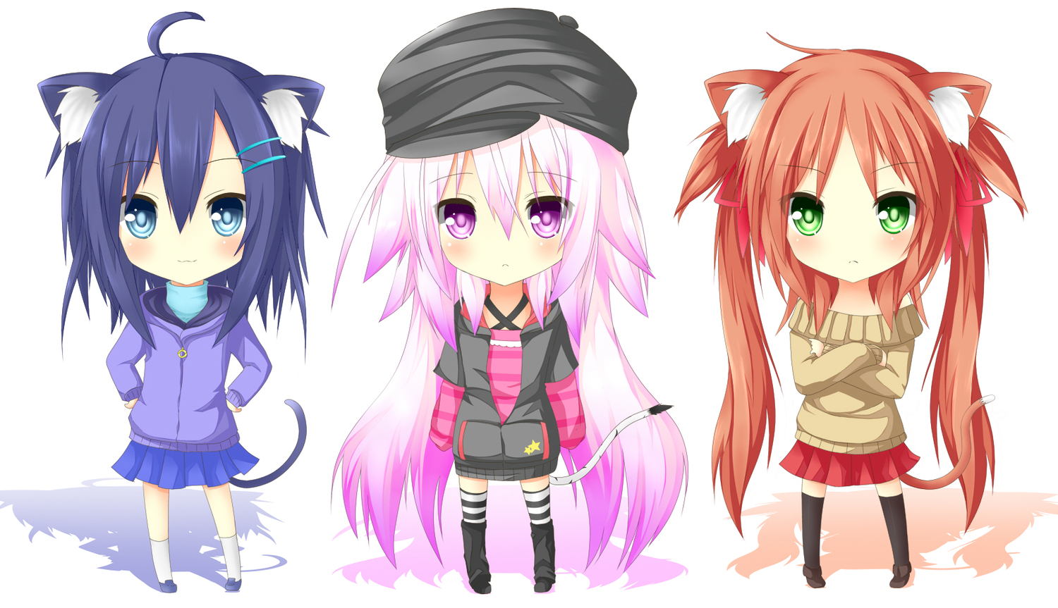 3girls blue_eyes blue_hair blush cat_smile catgirl cha_ha_neko chibi green_eyes hat long_hair original pink_eyes pink_hair red_hair tail thighhighs twintails