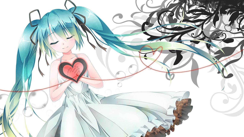 aqua_hair dress hatsune_miku heart long_hair ribbons summer_dress tagme_(artist) twintails vocaloid