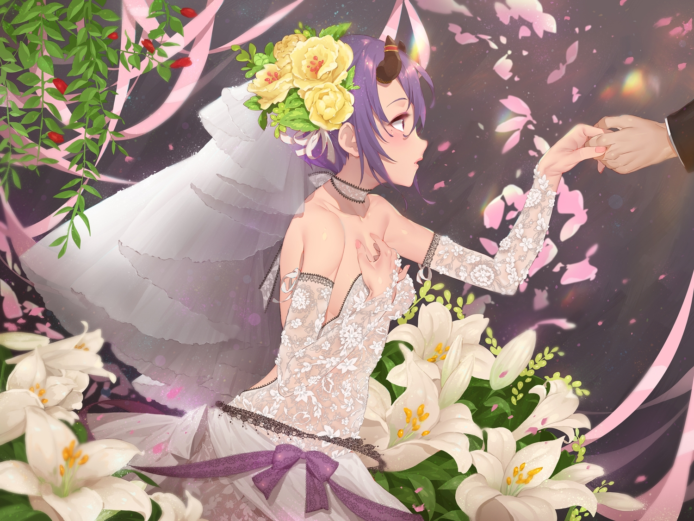 blush dress flowers headdress horns kamiki_shinobu leaves princess_connect! purple_hair red_eyes ribbons see_through short_hair waterring wedding wedding_attire