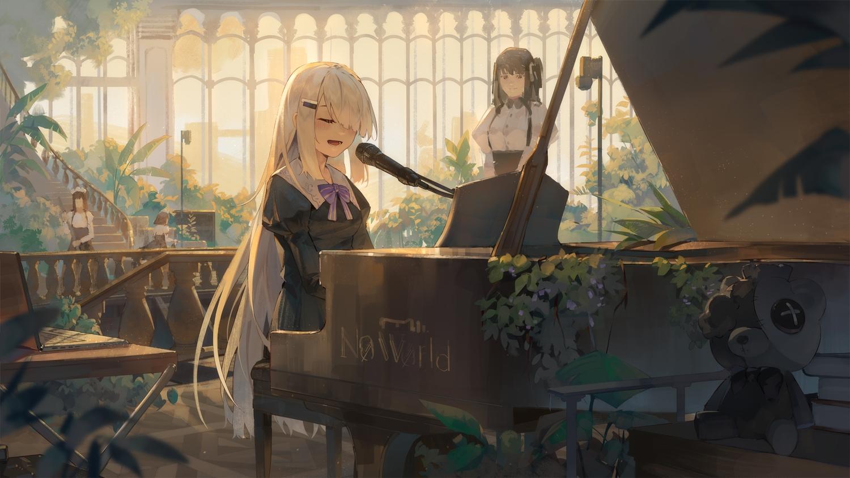 brown_hair dress instrument ji_dao_ji long_hair microphone noir_(noworld) noworld_official piano stairs teddy_bear white_hair