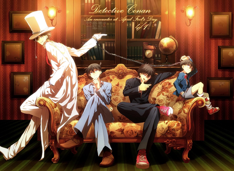 abaraya all_male book chain couch detective_conan edogawa_conan group hat kaitou_kid kudou_shinichi kuroba_kaitou magic_kaito male suit uniform