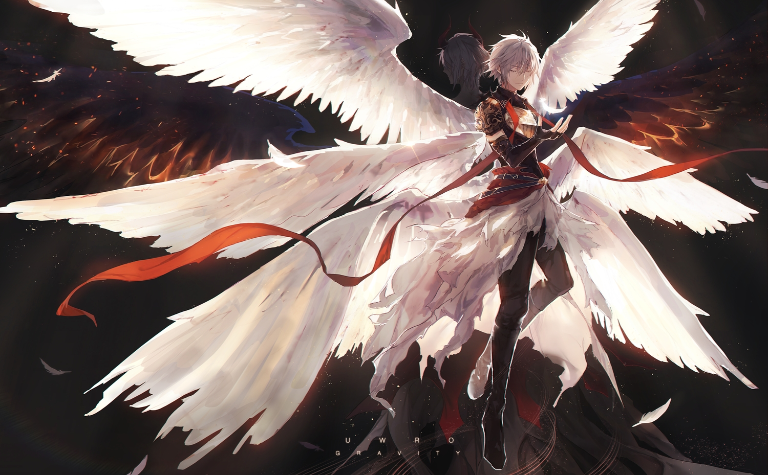 all_male elbow_gloves feathers gloves granblue_fantasy horns lucifer_(granblue_fantasy) male scarf short_hair uwro watermark white_hair wings