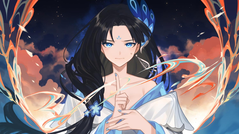 aqua_eyes black_hair blush close clouds empew forever_7th_capital long_hair magic sky tagme_(character) waifu2x