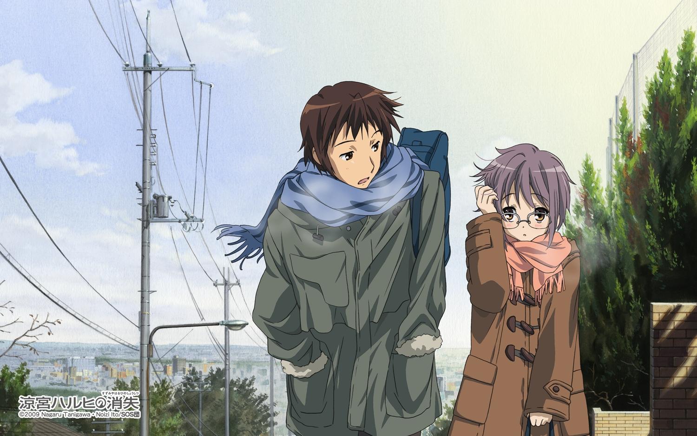 brown_eyes brown_hair clouds glasses kyon male nagato_yuki purple_hair scarf short_hair sky suzumiya_haruhi_no_yuutsu tagme_(artist) watermark