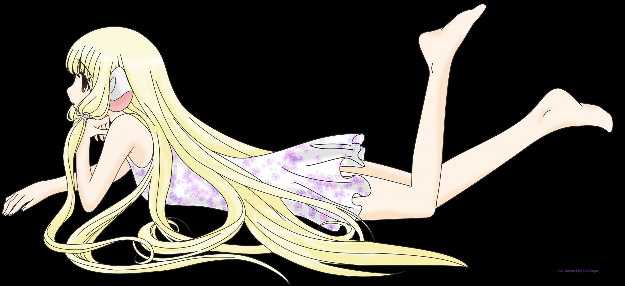 barefoot blonde_hair brown_eyes chii chobits dress long_hair transparent vector
