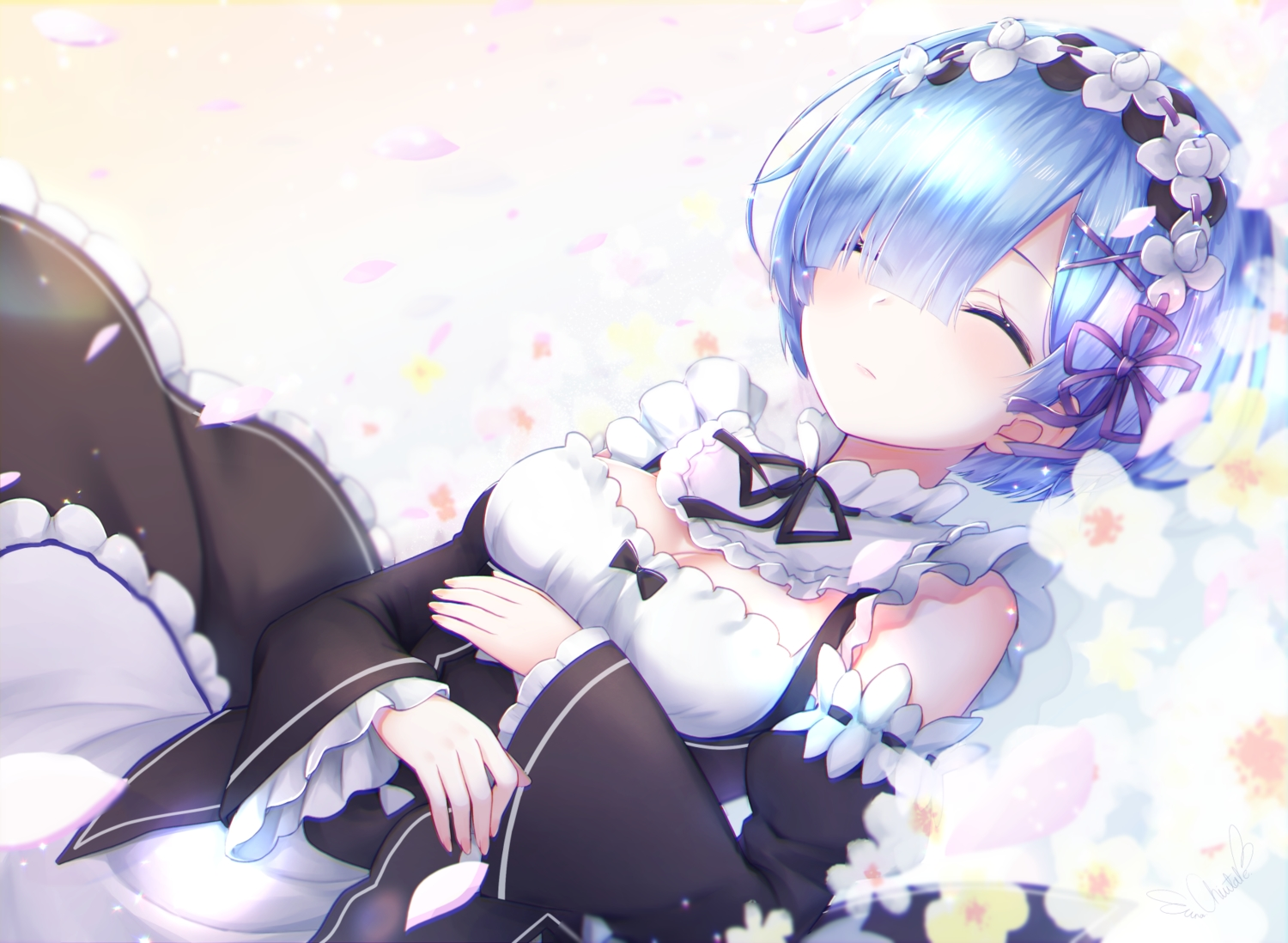 apron blue_hair bow breasts chiutake_mina flowers gradient headdress maid petals rem_(re:zero) re:zero_kara_hajimeru_isekai_seikatsu short_hair