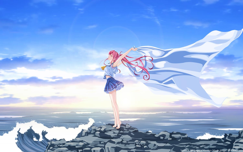 barefoot clouds deep_blue_sky_&_pure_white_wings misaki_kurehito miyamae_tomoka pink_hair ponytail scenic school_uniform sky vector water