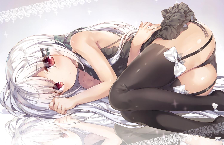 ass bow dress garter_belt komeshiro_kasu long_hair panties red_eyes scan stockings thighhighs underwear white_hair