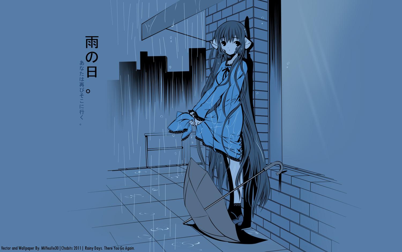 blue chii chobits rain tagme umbrella water wet