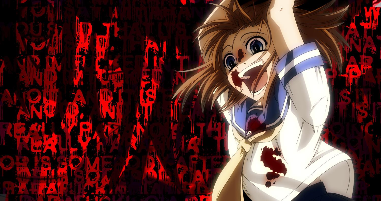 Blood Blue Eyes Higurashi No Naku Koro Ni Jpeg Artifacts Orange