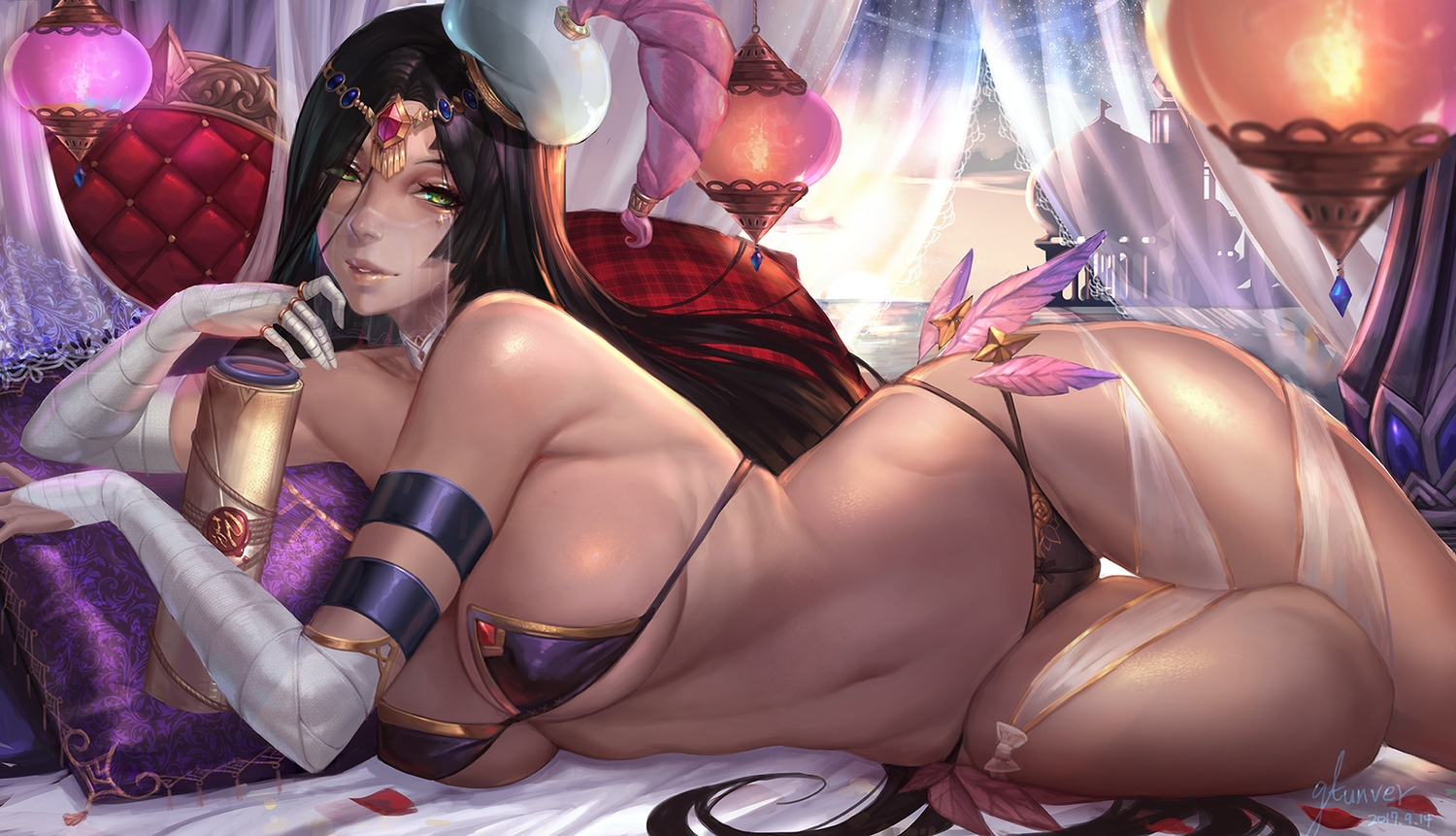 bandage bed bikini black_hair breasts choker cleavage elbow_gloves erect_nipples fate/grand_order fate_(series) gloves green_eyes gtunver headdress long_hair scheherazade_(fate/grand_order) signed swimsuit underboob