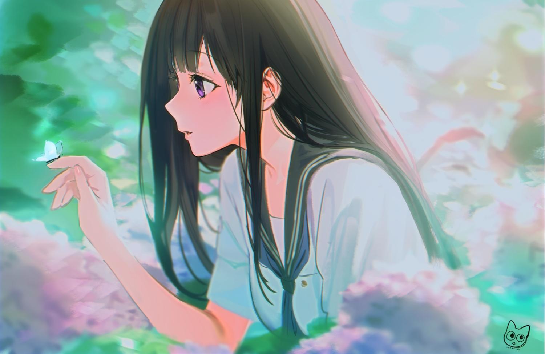 black_hair blush butterfly chitanda_eru close flowers hyouka long_hair mery_(apfl0515) purple_eyes school_uniform signed