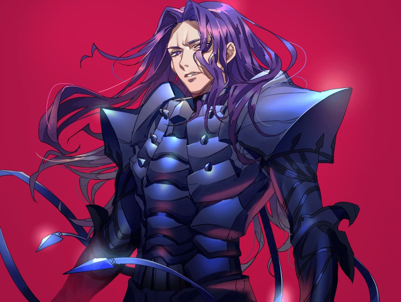 all_male armor fate/grand_order fate_(series) lancelot_(fate) long_hair male purple_eyes purple_hair red tenobe
