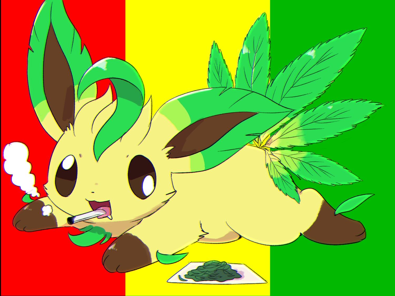 cat_smile kemoribon leafeon leaves paper pokemon smoking