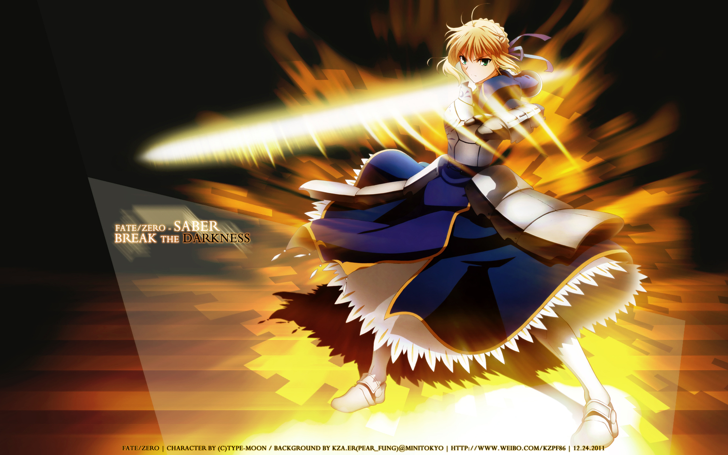 blonde_hair dress fate/stay_night fate/zero green_eyes ribbons saber sword weapon