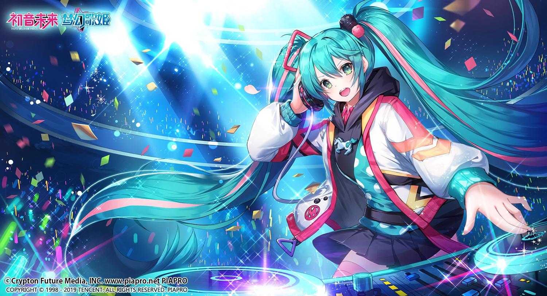 applecaramel_(acaramel) aqua_hair green_eyes hatsune_miku headphones hoodie logo long_hair music skirt thighhighs twintails vocaloid