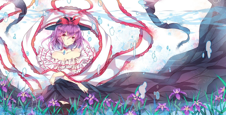 bubbles domotolain flowers hat nagae_iku purple_hair red_eyes touhou underwater water