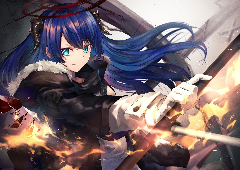 arknights gloves horns long_hair mostima_(arknights) noan