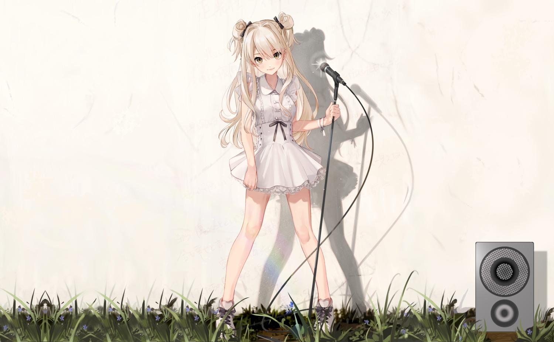 al_mican blonde_hair brown_eyes grass lolita_fashion long_hair microphone original rainbow third-party_edit