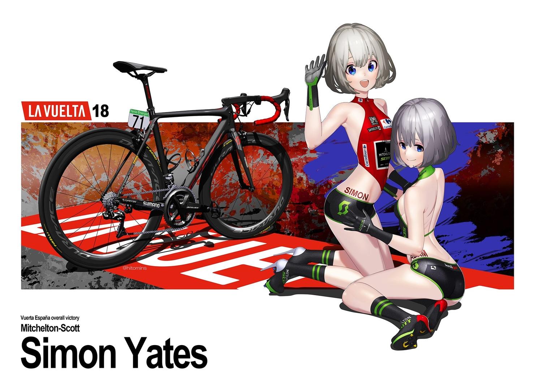 2girls bicycle blue_eyes gloves gray_hair hitomi_kazuya original skintight watermark