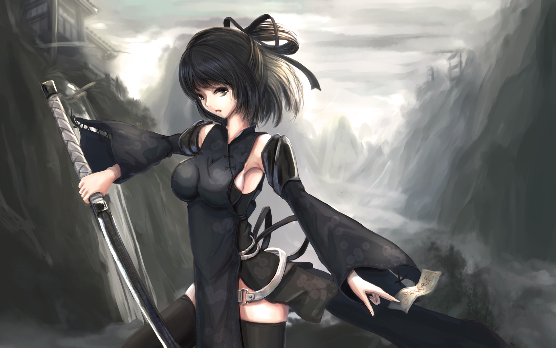 black_eyes black_hair katana kikivi ofuda original ribbons short_hair sideboob sword thighhighs weapon