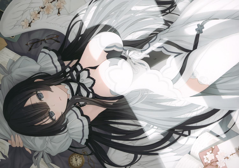 black_hair blue_eyes book breasts cleavage dress flowers glasses long_hair original paper scan thighhighs wings yashiro_seika