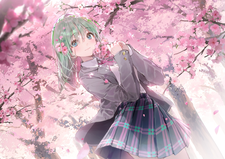 blue_eyes blush cherry_blossoms dsmile flowers green_hair original school_uniform skirt spring tree